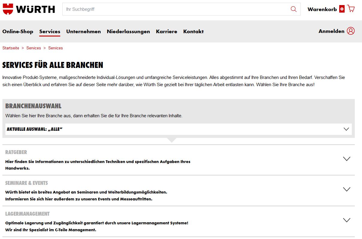 Würth: Digitale Services im Online-Shop